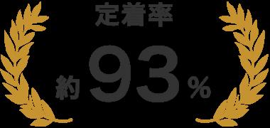 「定着率約93%」の月桂樹マーク